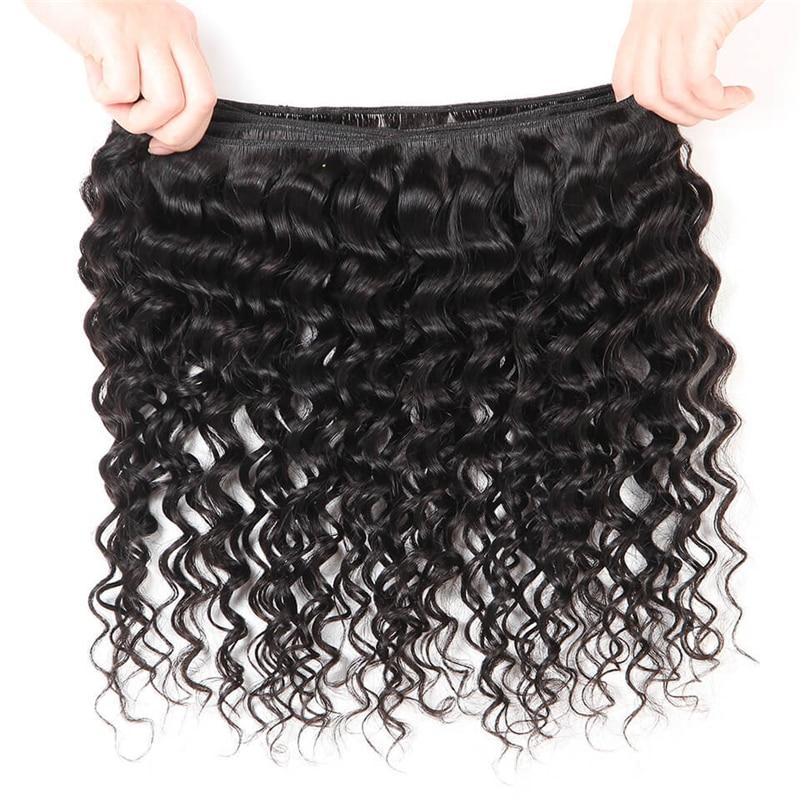 Brazilian Deep Wave Bundles With Closure Non Remy Human Hair 3 and 4 Bundles With Lace Brazilian Deep Wave Bundles With Closure Non Remy Human Hair 3 and 4 Bundles With Lace Closure Queen Mary Human Hair Extensions