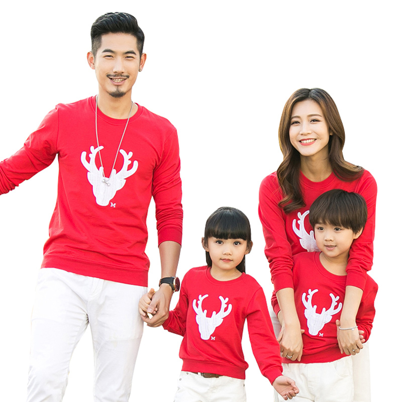 2019 New Year Christmas Family Clothing Family Look Mother Daughter Father Son Girl Long Sleeve Shirt Family Matching Outfit