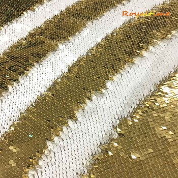 Double Face Sequins Fabric For Handbags Garments DIY Tissue Sewing Fabric Material Craft Making Accessories-Light Gold-White image