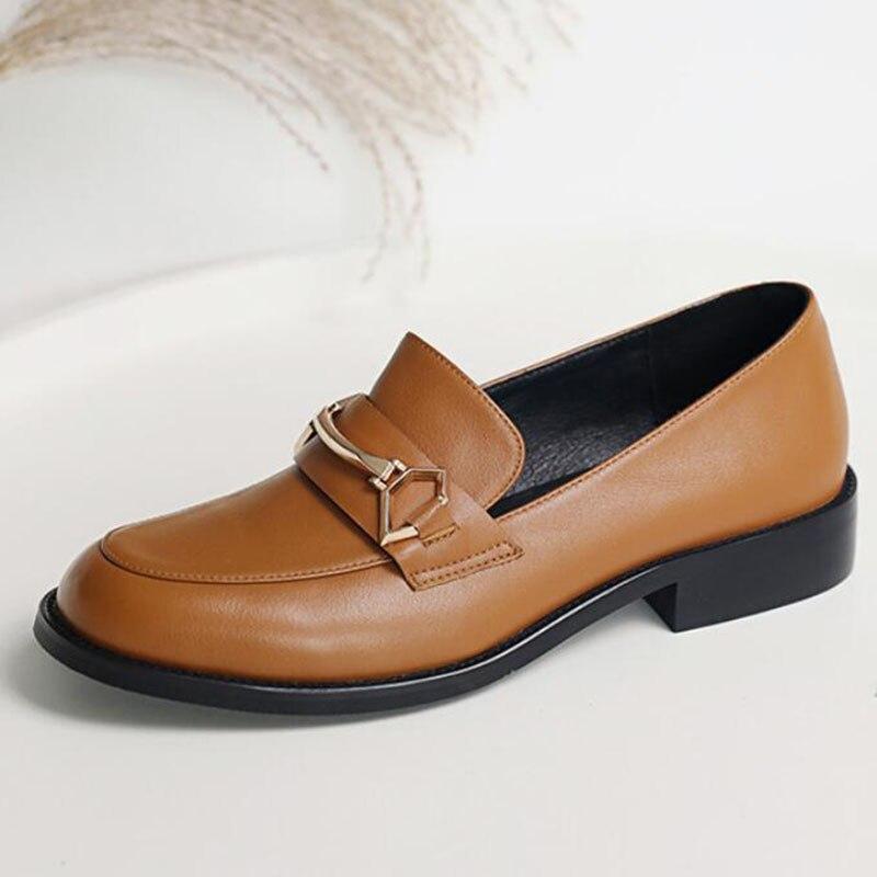 Sapatos femininos oxford sapatos de trabalho formal calçado preto apartamentos deslizamento on retro couro genuíno sapatos femininos de casamento mocassins - 2