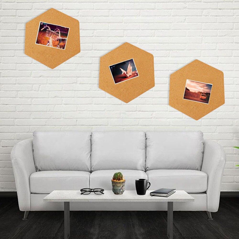 8PCS 215x185mm Cork Board Self-adhesive Hexagonal Cork Wall Bulletin Memo Letter Message Board Photos Display Wall Decoration
