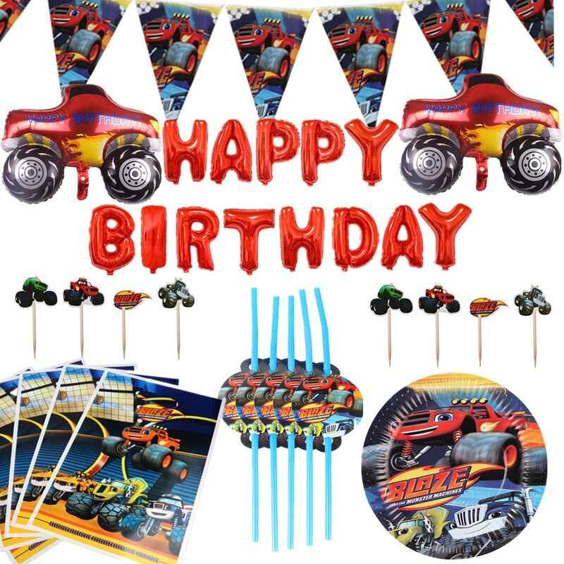 Blaze En De Monster Machines Verjaardagsfeestje Decoraties Banner Papier Cup Rietjes Ballon Jongens Baby Shower Kids Feestartikelen