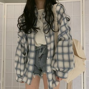 plus size Turn Down Collar White Shirt Button Up Casual Tops Oversized New Arrival Women Vintage Plaid Blouse Lantern Sleeve