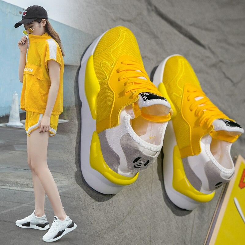 Women Yellow High Top Running Boots