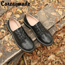 Careaymade-Spring New Female Shoe Top Layer Cowhide Low-heeled Retro Casual Single Pure-color Handmade British style Shoes