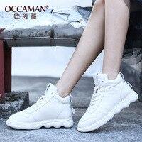 OCCAMAN/модные зимние кроссовки на толстой платформе из натуральной кожи; женская обувь для вулканизации