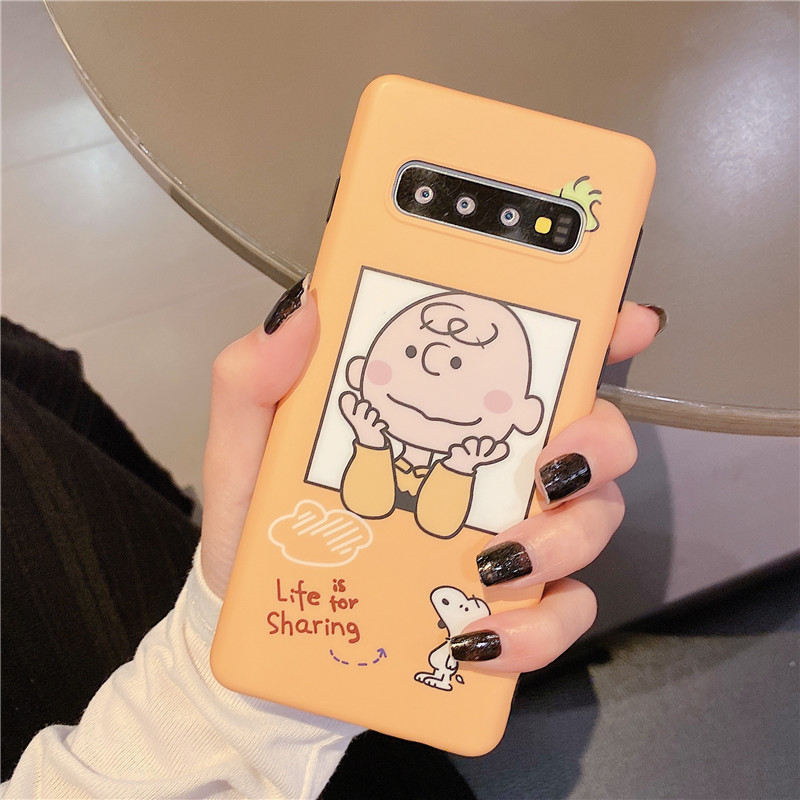 Cartoon Comic Cute Charlie Brown Dog Anti Fall Phone Case For Samsung S8 S9 S10 Plus Note 8 9 10Pro Soft Silicone Cover Coque