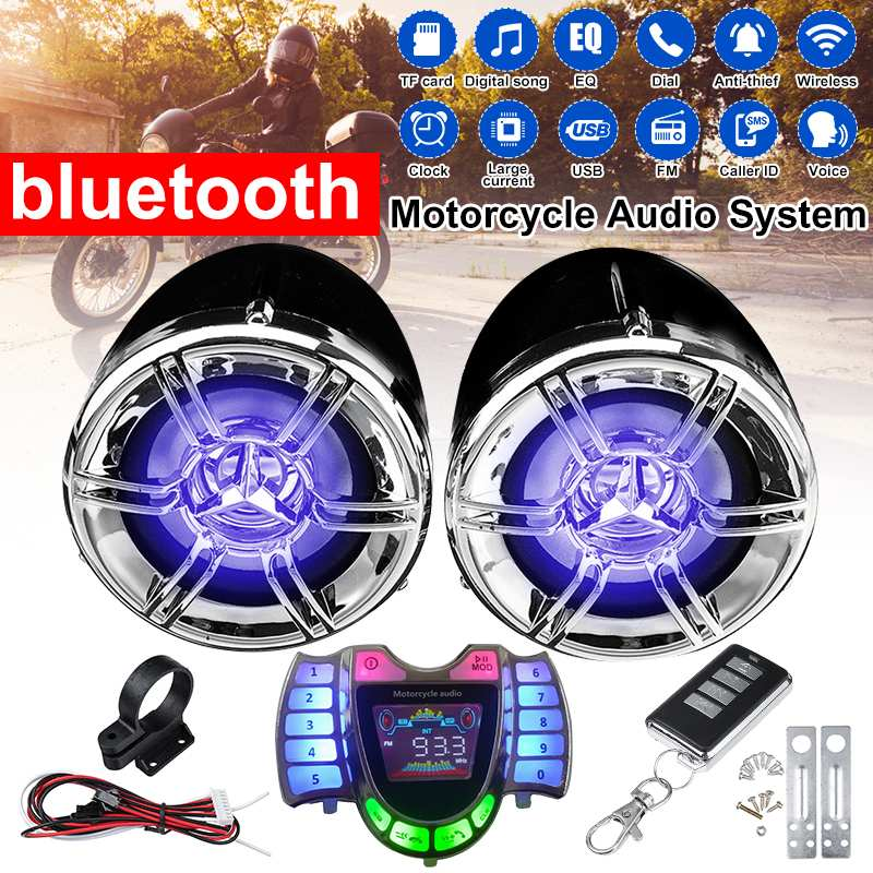 Motorcycle Audio Handsfree Bluetooth Stereo Speakers FM Radio Sound System Anti-theif Amplifier MP3 Music Player Remote Control