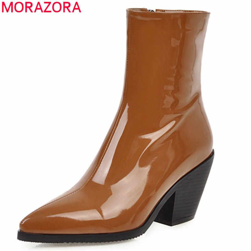 Morazora 2020 Lớn Kích Thước 46 Nữ Mắt Cá Chân Giày Mũi Nhọn Chắc Chắn Màu Thu Đông Boot Giày Cao Gót Đầm Công Sở người Phụ Nữ