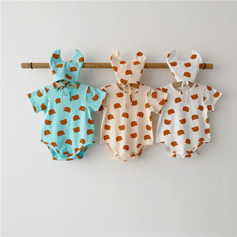 3539 Newborn Baby's Clothes Cute Bear Printed Rompers With Hat Short Sleeve Bodysuit Boys Animal Triangle Creeper Hoodie