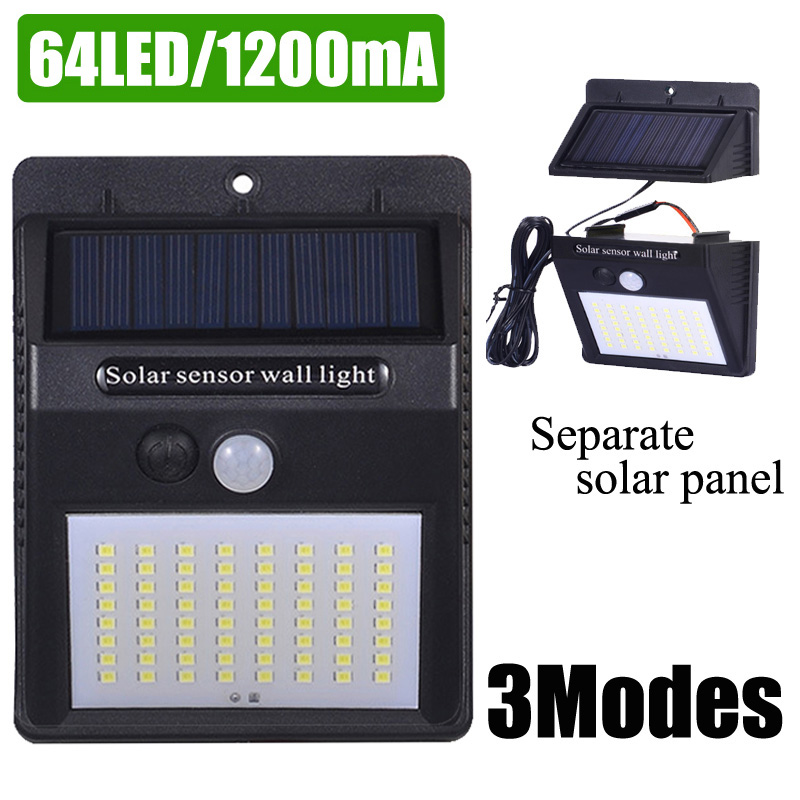 A2  Solar Power Wall Light PIR Motion Sensor Solar Lamp Lantern 64LED 1200mA Outdoor Waterproof Garden Separate Solar Panel