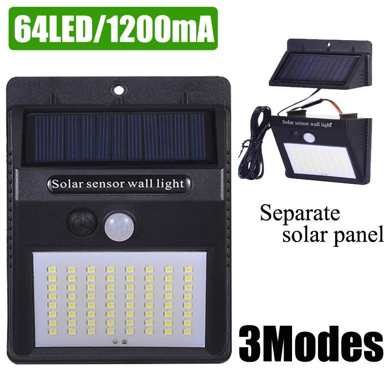 A2  Solar Power Wall Light PIR Motion Sensor Solar Lamp Lantern 64LED 1200mA Outdoor Waterproof Garden Separate Solar Panel