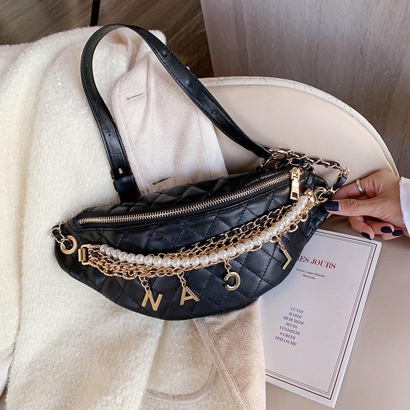 Women's Chain Waist Bag Gold Letters Female Fanny Pack Plaid Luxury Hip Belt Bag High Quality Shoulder Crossbody Chest Bags