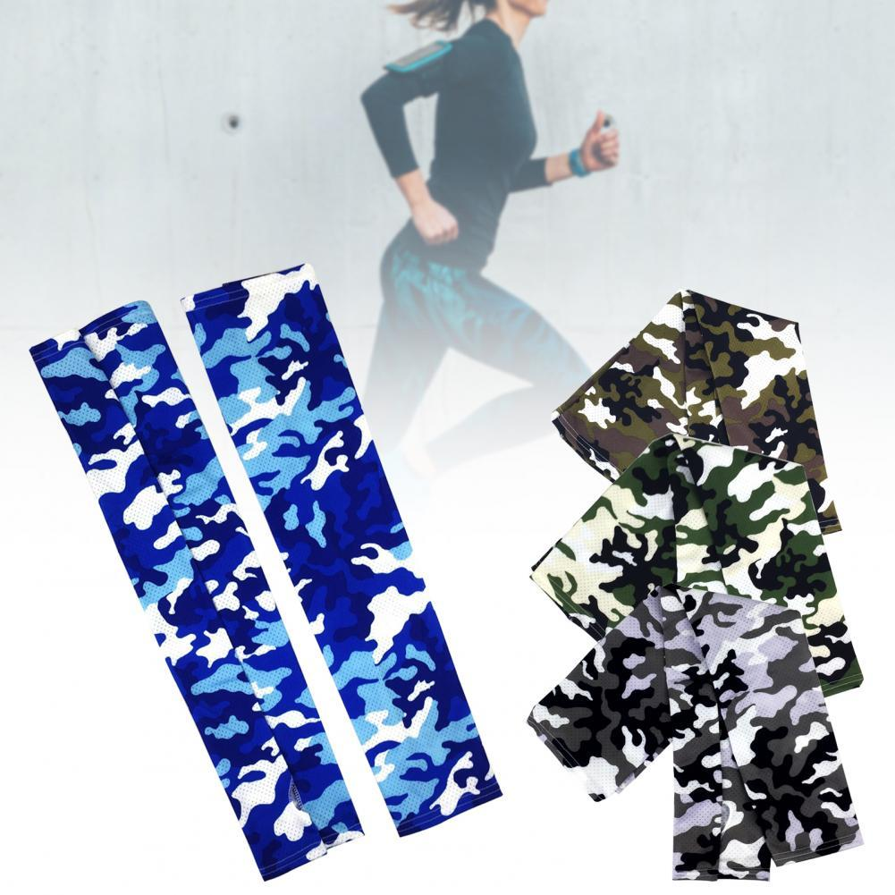 1 Pair Camouflage Ice Silk Sport Arm Sleeves Cycling Arm Sleeves Cover UV Protection Running Basketball Summer Arm Sleeves