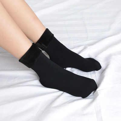 2019 nuevo invierno cálido mujeres espesar lana térmica medias de Cachemira calcetines de nieve botas de terciopelo sin costuras calcetines para dormir