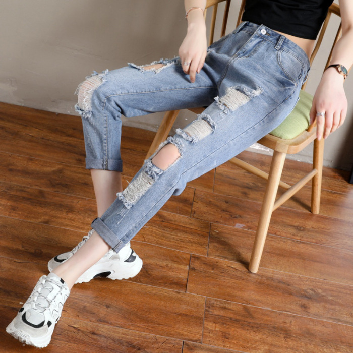 Photo Shoot High-waisted With Holes Jeans Women's Loose-Fit 2019 Spring New Style Capri Slimming Beggar Straight-Cut Dad Pants