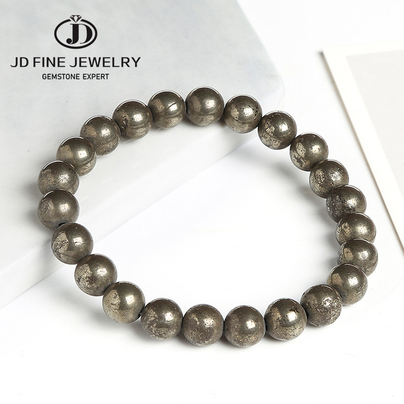 JD Natural Pyrite 8mm Round Beads Elastic Line Stretch Beaded Bracelet Fashion Man Woman Jewelry