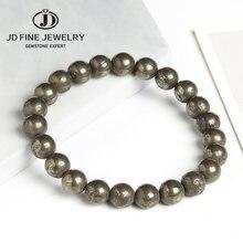 Jd pulseira natural pirrite 8mm, contas redondas, elástica, linha, malha, joia