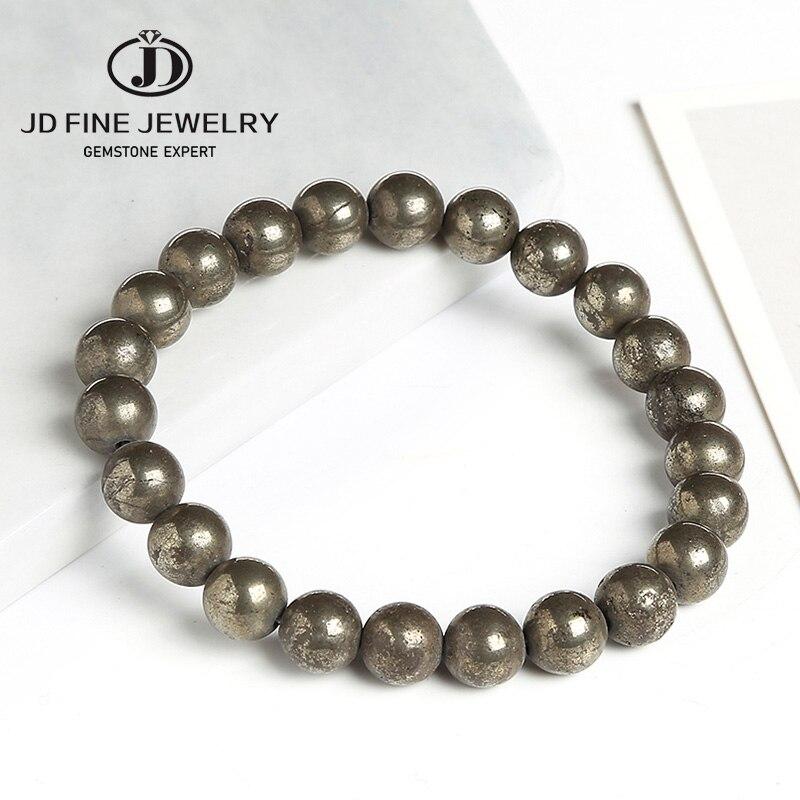 Jd pyrite natural 8mm contas redondas linha elástica trecho frisado pulseira moda homem mulher jóias
