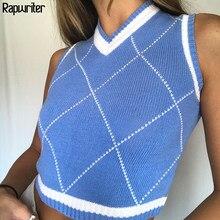 Argyle-suéter a cuadros de estilo pijo para mujer, chaleco de punto a rayas con cuello de pico, Top corto Y2K 90s, ropa de calle de punto de otoño e invierno