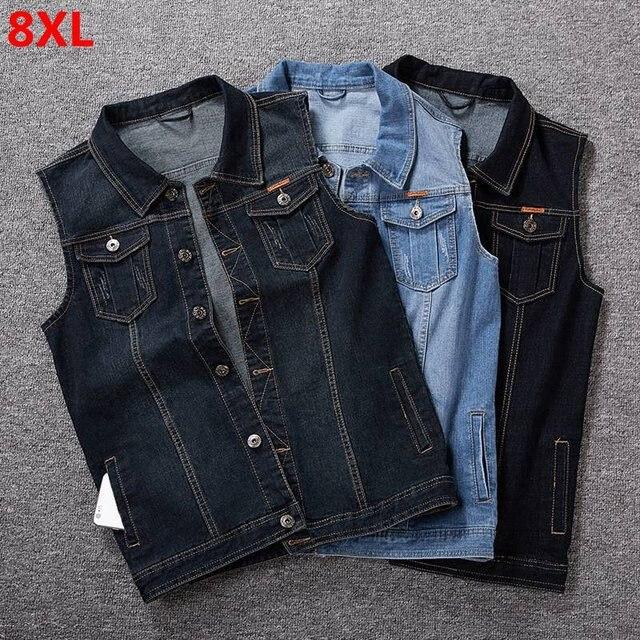 الرجال سترة جينز الرجال الربيع الأزرق في الهواء الطلق متعددة جيب سترة بلا أكمام 8XL 7XL 6XL 5XL سترة جينز حجم كبير وسيم المد