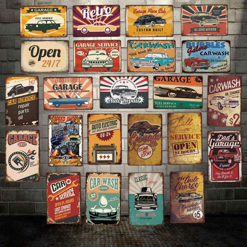 [ WellCraft ] Garage Open Car Wash Metal Plaque Wall Tin SignsPosters art Vintage Painting Personality Custom Decor LT-1770