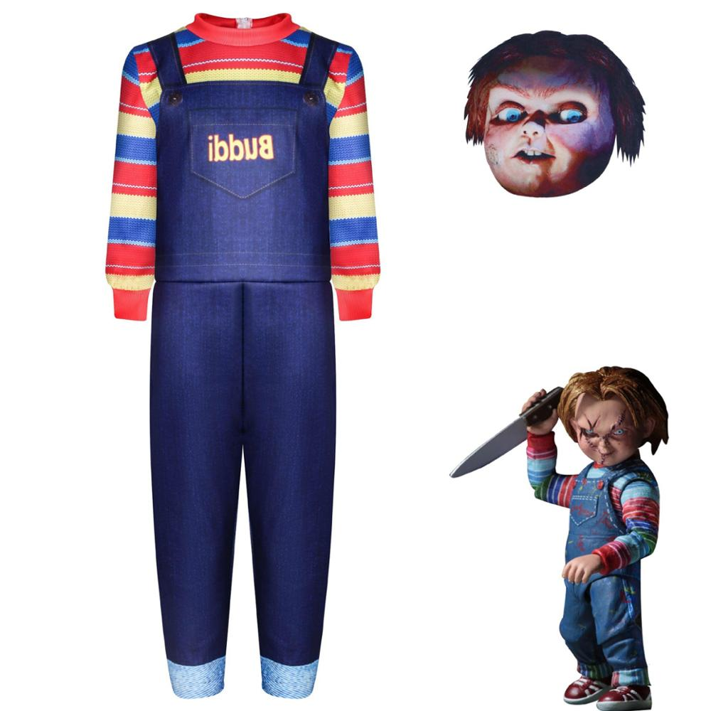 Bambini Halloween gioco per bambini Chucky Cosplay Costume ragazzi ragazze Cartoon Horror Ghost Doll tute a maniche lunghe stampate in 3D Dres
