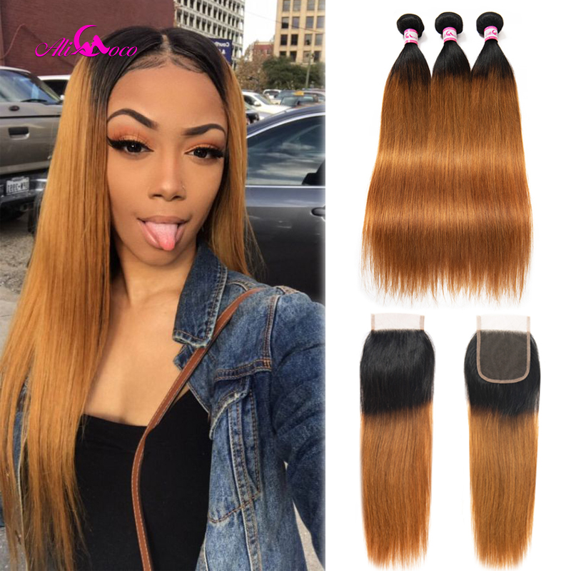 Ali Coco Brazilian Straight Hair Human Hair Weave 3 Bundles With Closure 1B/30 Color 8-28 Inch Swiss Lace Remy Hair Extensions