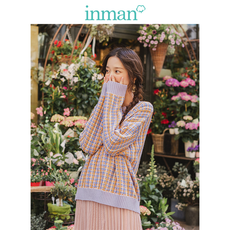 INMAN Spring Autumn O-neck Drop-shoulder Sleeve Cute Colorful Young Girl Jacquard Plaid Women Pullover