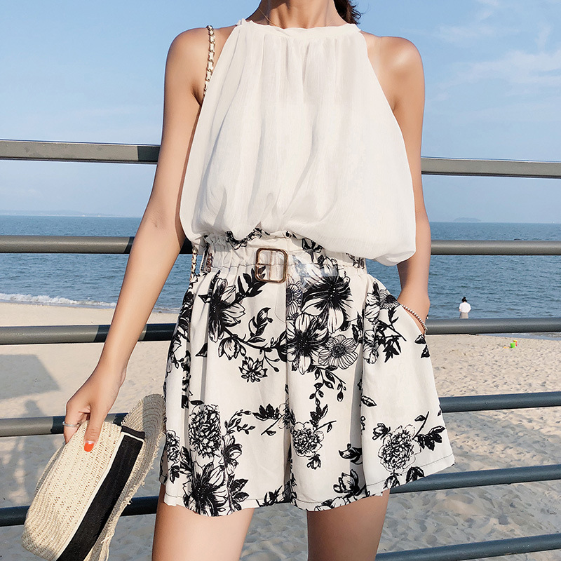 [Dowisi Main] 2018 Summer Korean-style New Style Off-shoulder Tops Wide-Leg Shorts Two-Piece Women's F5032