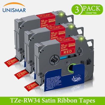Unismar 3PK TZe-RW34 Tape Gold on Red 12mm Satin Ribbon Tapes 12mm TZe RW34 TZ-RW34 gift labeling tape for Brother P touch Label
