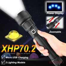 XLamp XHP70 The Most Powerful Usb Zoomable Led Flashlight Xhp70.2 Tactical Flash Light Torch By 26650 18650 Battery for Hunting