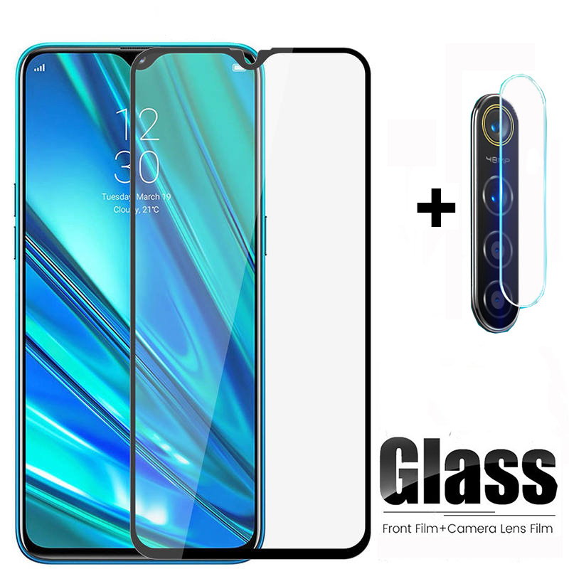 2 In 1 Tempered Glass On The For OPPO Realme 5 Pro 5Pro Camera Lens Protection Film Screen Protector For Realme Q 6.3