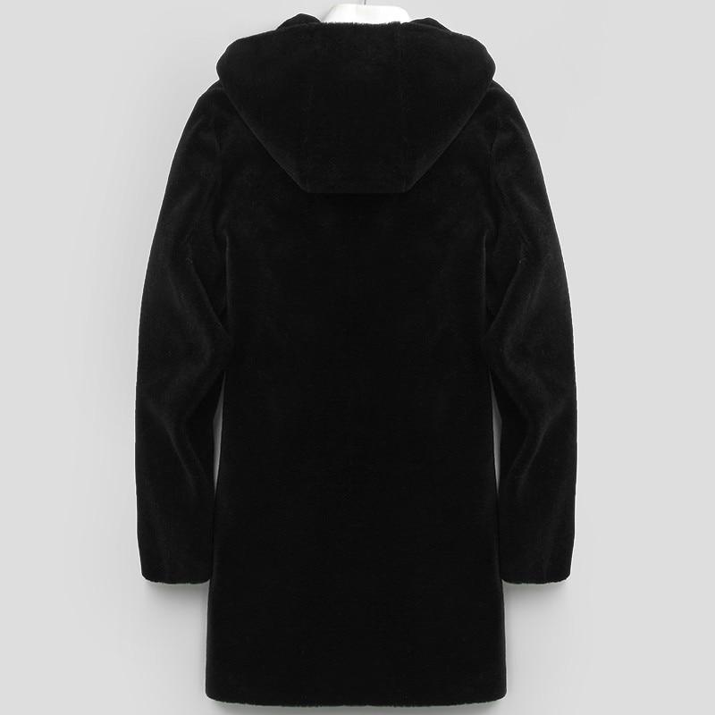 Real Fur Coat Men Sheep Shearing Wool Coat Winter Jacket Men's Long Coat Fur Hooded Real Leather Erkek Mont KJ806
