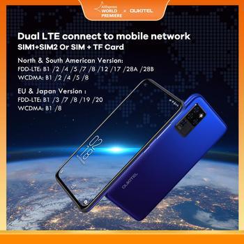 OUKITEL 4G C21 Smartphone Octa Core 4G+64GB 4000mAh Mobile Phone Selfie 6.4'' FHD+ Hole Punch Screen 20MP Quad Camera Phone 3