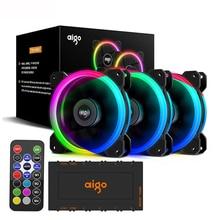 Aigo DR12 RGB fan 120mm PC Cooler Fan RGB Silent Cooling Fan For PC Gaming Case IR Remote Controller Cooler am3 am4