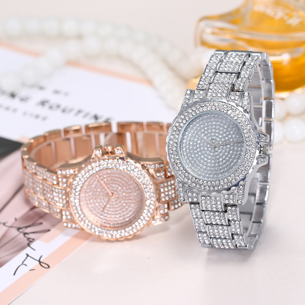 Hip Hop Mens Iced Out Watches Luxury Date Quartz Wrist Watches With Rhinestone Stainless Steel Watch For Women Men Jewelry#50
