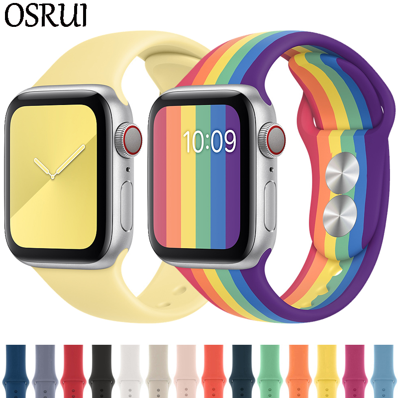 Strap For Apple Watch Band 44mm 40mm 42mm 38mm Correa Iwatch 5 4 3 2 Sport Silicone Bracelet Pulseira Apple Watch 4 Accessories