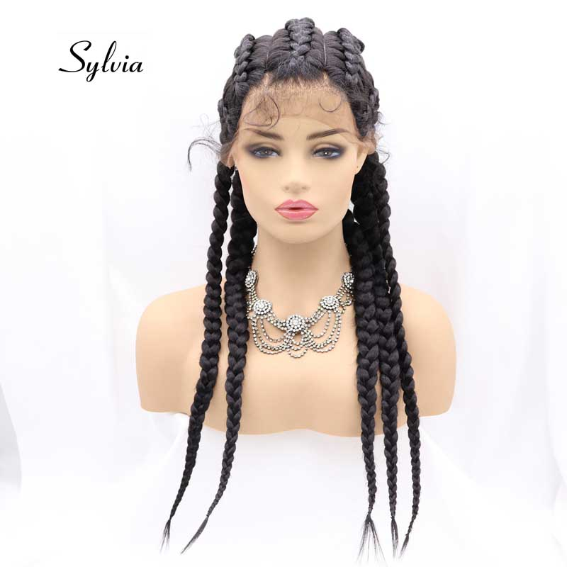 Sylvia Black/Mixed Brown Synthetic Box Braid Lace Front Wigs For Women Hair Cornrow 5Braids Hair Wig