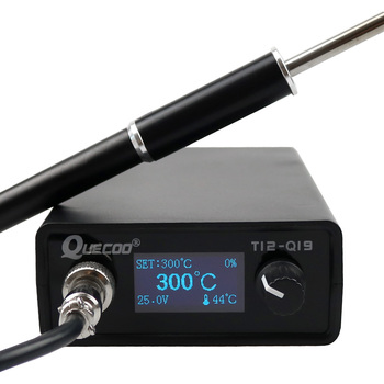 OLED T12-Q19 Electronic Digital Soldering Station compatible AC/DC with M8 Plastic handle and T12 iron tips without power plug