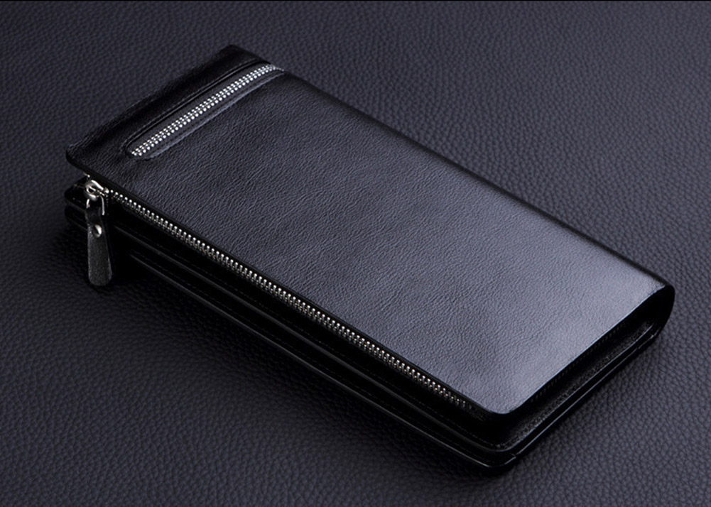 2019New Business Men's Wallet Long Vertical Male Coin Purse Casual Multi-function Card Holders Bag Zipper Buckle Trianglefolding