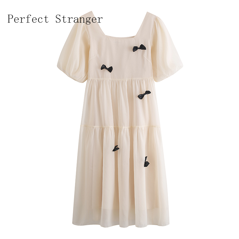 2021 Summer New Arrival French Style High Quality Square Collar Puff Sleeve Bowknot Women Chiffon Long Dress 6