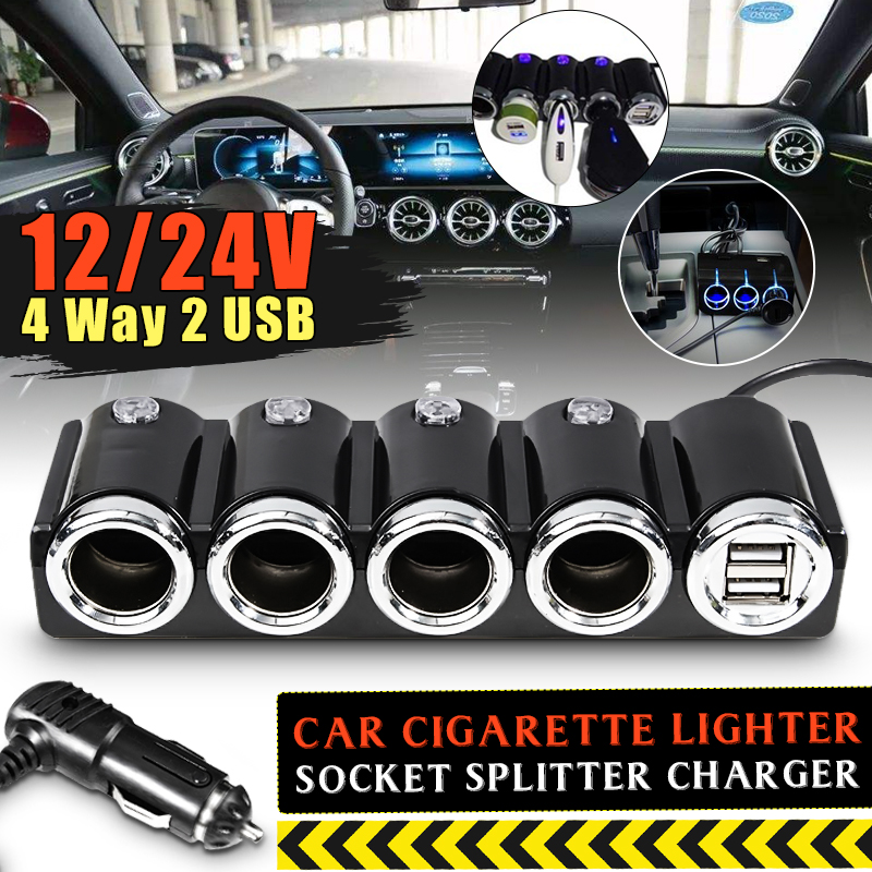 120W 12V USB 4 Way Car Cigarette Lighter Socket Splitter Charger Power Adapter