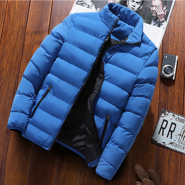 New Warm Thick Men Parka Jackets Winter Casual Mens Outwear Coats Solid Stand Collar Male Windbreak Cotton Padded Down Jacket 4