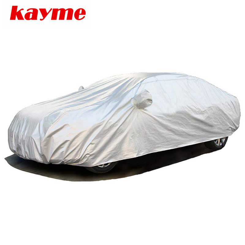 Kaymeフル車カバー防塵屋外屋内uv雪耐水性太陽保護ポリエステルカバーユニバーサルフィットセダンhathcback