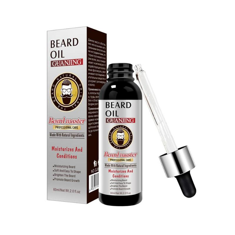 60ml Pure Beard Growth Oil Men Thicker Fuller Men's Natural Ingredients Beard Oil Anti Hair Loss Grow Mustache Essence Oil
