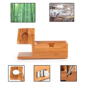 Image 4 - Bamboo Charging Charger Station Dock Stand Holder With 3 Usb Hub Port Cable For Apple Watch  Iphone 8 X 7 6 6S Plus