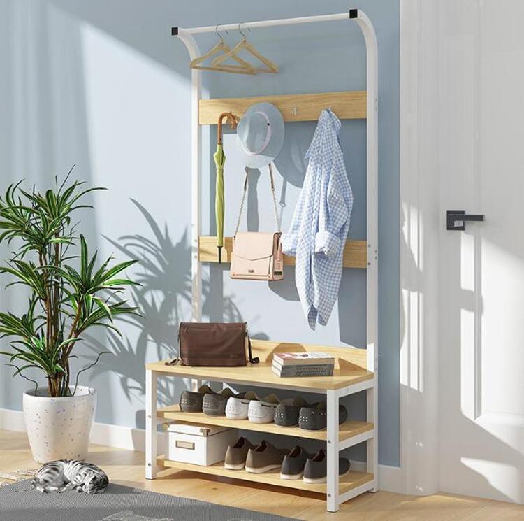 Multifunctional Wood Storage Cabinet With Coat Rack Shoe Shelf Bedroom Living Room Modern Hanger Storage Space Saving