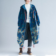 Oversized Womens Denim Trench Coat Spring Autumn Print Flower Jeans Overcoat Plus Size Hooded Long Coats Windbreaker Outerwear