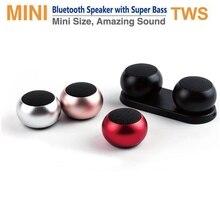 מיני TWS נייד Bluetooth רמקול אלחוטי אמיתי סטריאו סאב דיבורית רמקול חזק עם מיקרופון USB החייבת